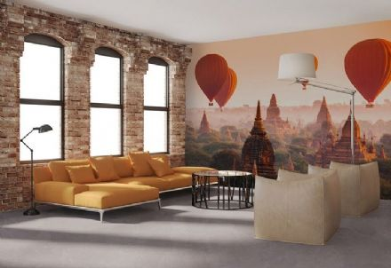 Red Ballons over Bagan non woven wallpaper